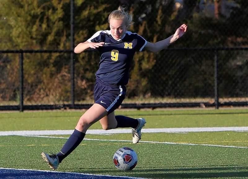 Marion freshman Margaux Bruce scores her first goal.