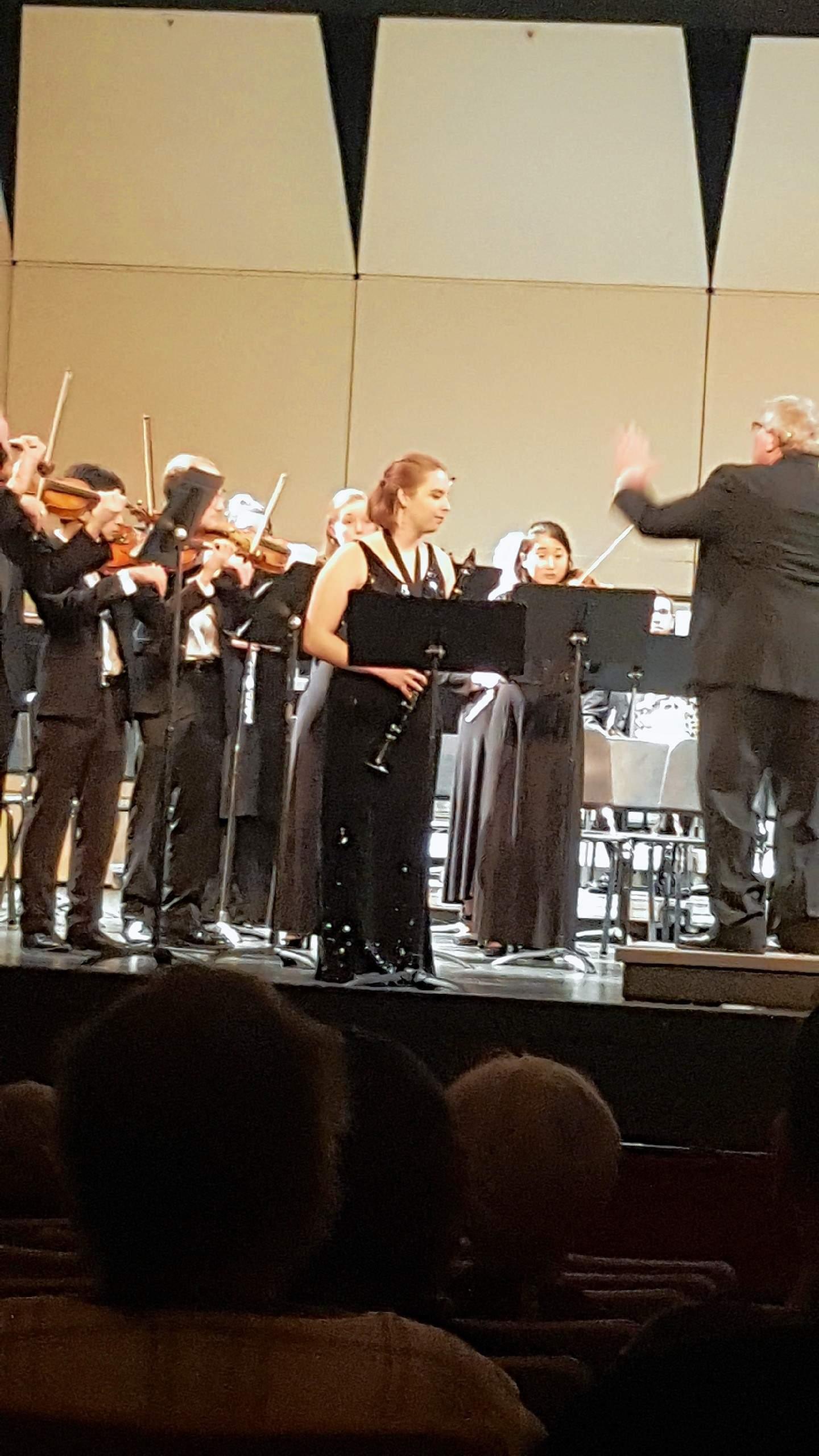 Carbondale Community High School senior Emma Byrd performs alongside the Southern Illinois Symphony Orchestra.