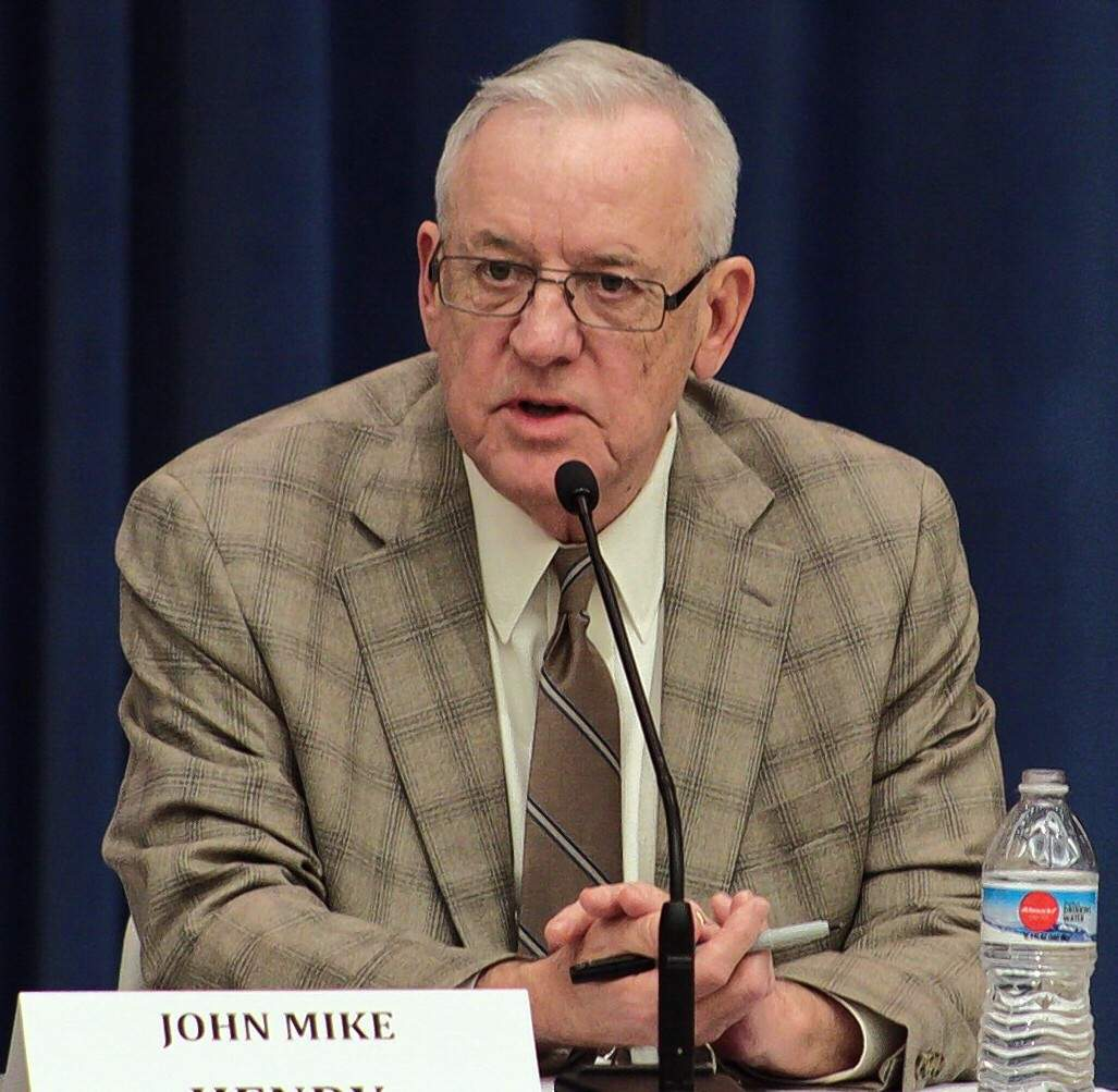 Mayor Mike Henry is shown in late March at a candidates forum at the Carbondale Civic Center.