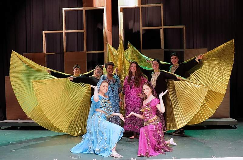 Egyptian handmaidens and dancers put on a fashion show for the palace in honor of Princess Amneris during a scene rehearsal for Aida at SIC.