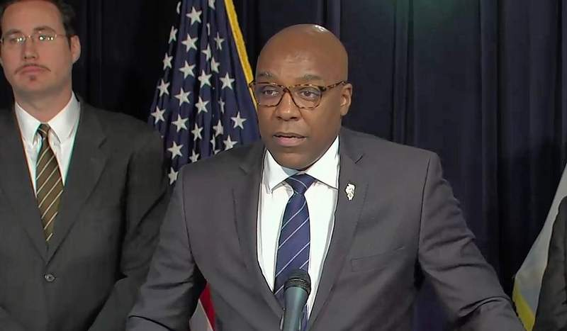 Attorney General Kwame Raoul speaks Tuesday at a Chicago news conference at which he advocated for greater regulation of alternative retail energy suppliers.