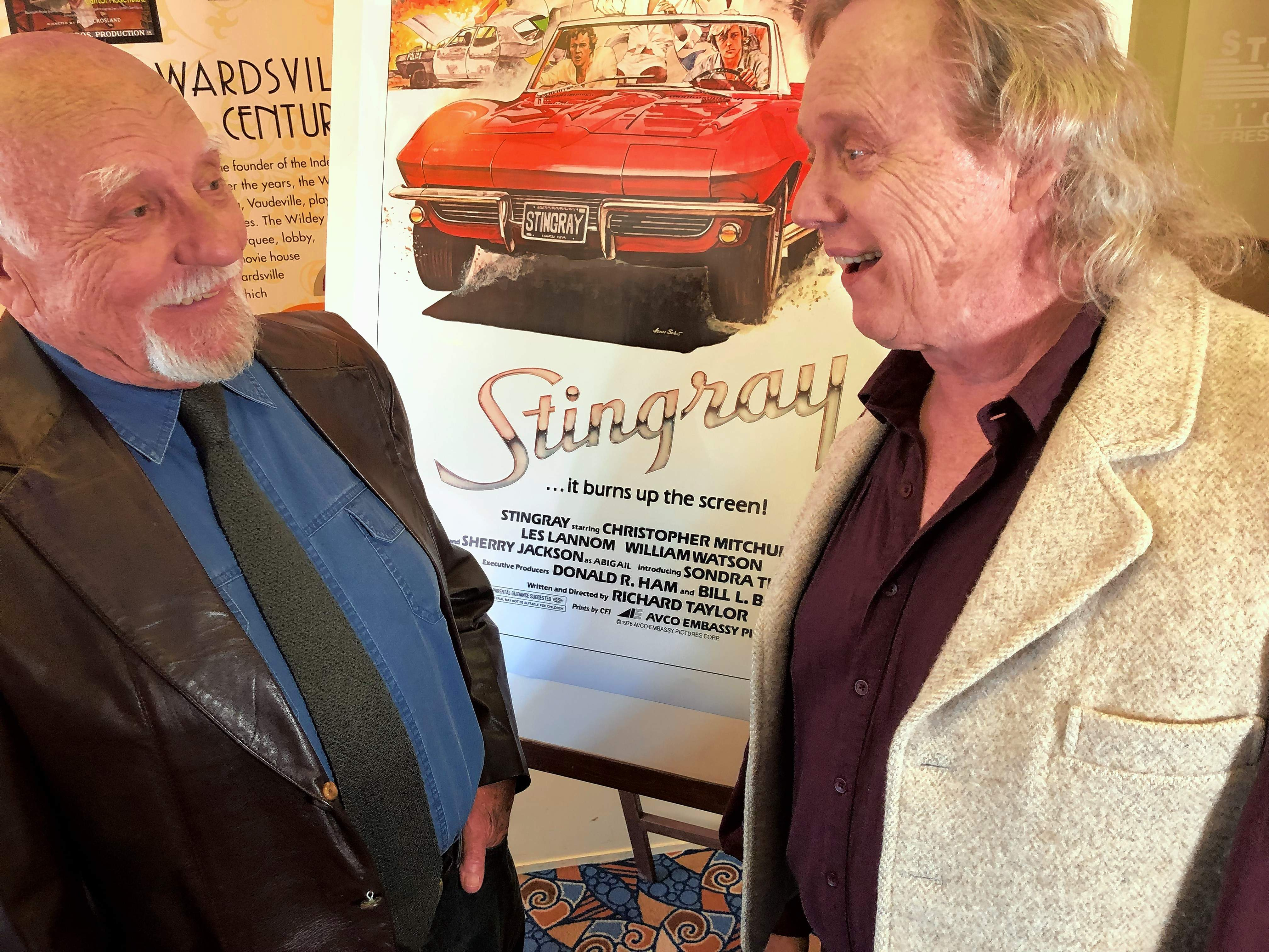 """Actors Bert Hinchman, left, and Les Lannom, share some fond memories from the filming of """"Stingray"""" prior to the screening of the 40th Anniversary """"Garage Edition"""" at the Wildey Theatre in Edwardsville Saturday evening."""