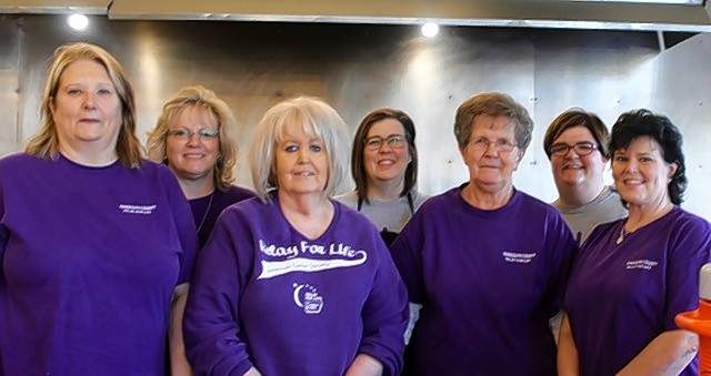 The team Let's Knock Out Cancer is at the event. Back row, from left, are Angie Schoenbeck, Nola Stear and Jill Kueker. Front row, from left, are Barb Miskle, Brenda Castens, Elaine Cunningham and Sherry Johnson.