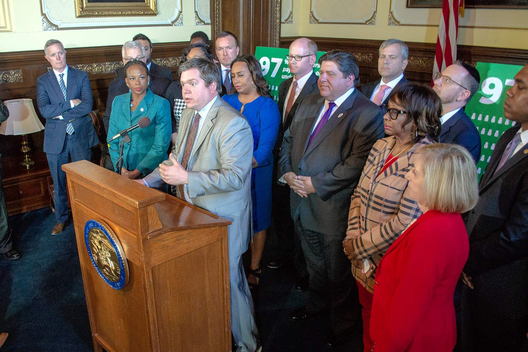 Rep. Mike Zalewski, a Riverside Democrat, talks to reporters during a news conference April 9 in Springfield. Zalewski is the House sponsor of a $2.44 billion plan to pay for state transportation infrastructure improvements that hinges on a hike in the motor fuel tax, vehicle registrations and fees. House Bill 391 advanced to the full House out of the Revenue and Finance Committee on Wednesday.