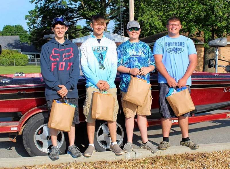 A pair of  two-man PCHS Bass Fishing teams (from left) Terry Davis-Garrett Vuichard and Zach Martin-Chase Fulkerson headed to the state tournament at Carlyle Lake this weekend with a sendoff by students, faculty, staff, and families on Panther Drive Thursday morning.