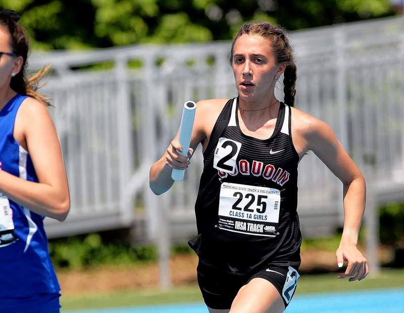 Du Quoin's Olivia Phillips is the lead leg in the Indians' 4x800-meter relay team that came in first in its heat -- and overall -- at Thursday's IHSA Class 1A State Track & Field preliminaries at Eastern Illinois University in Charleston.