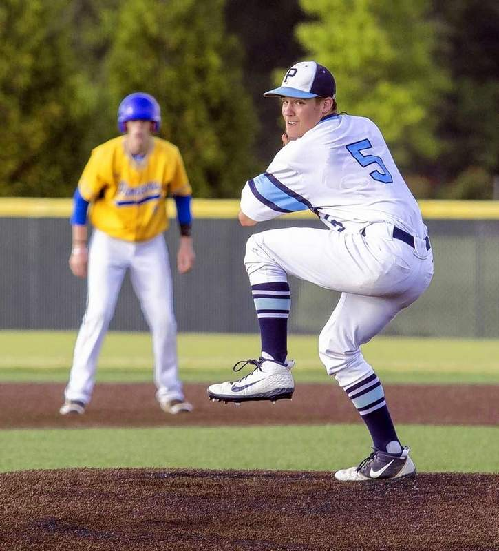 PCHS pitcher Noah Carter worked two-plus innings of relief and got the victory in Wednesday's game against Trico, played at John A. Logan College.