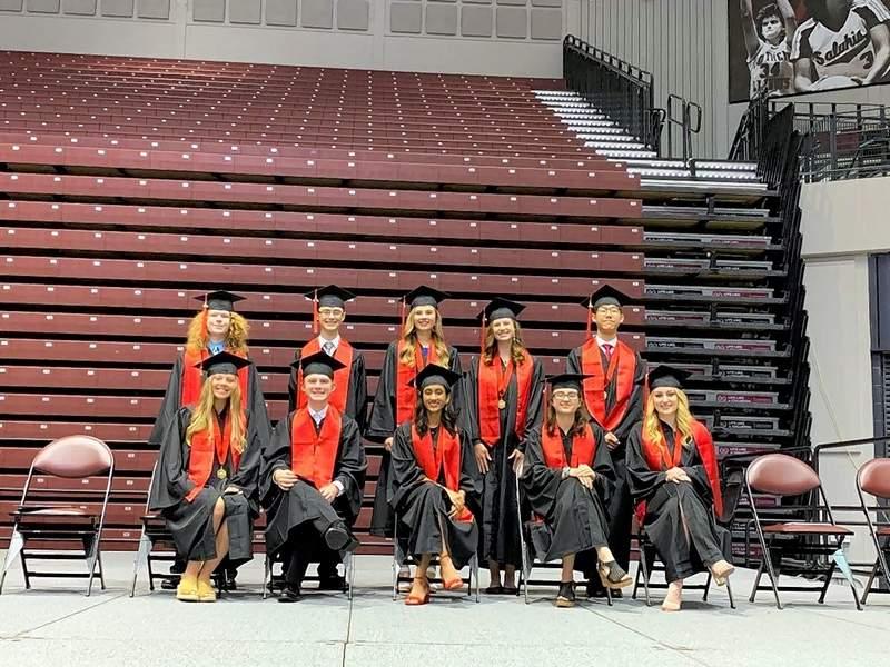 Pictured are CCHS Class of 2019 valedictorians Jonah Biggers, Megan Bily, Peter Huh, Aditi Kumar, Ian Kinsel, Sean Stuart and Emma Turk; salutatorian Sarah Petrowich; and scholars Brianna Upton and Daylen Flynn.