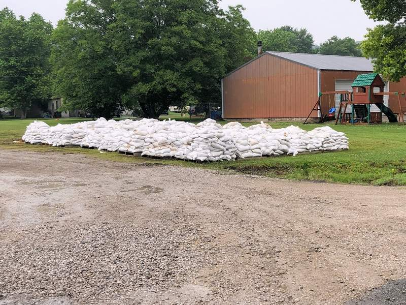 One of several piles of sandbags stacked in Prairie du Rocher filled by dozens of area volunters for use in fighting flood waters near the levee.