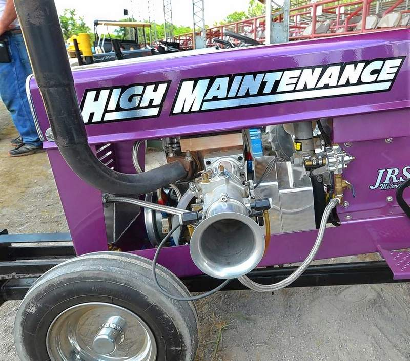 These custom-made engines produce around 75 horsepower in the garden tractors that compete in pulling contests like the one held Friday afternoon at the 163rd Williamson County Fair in Marion. Each one is custom built and can cost upward of $25,000 apiece.