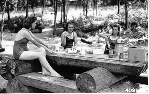 Women picnic at Pounds Hollow in 1941.
