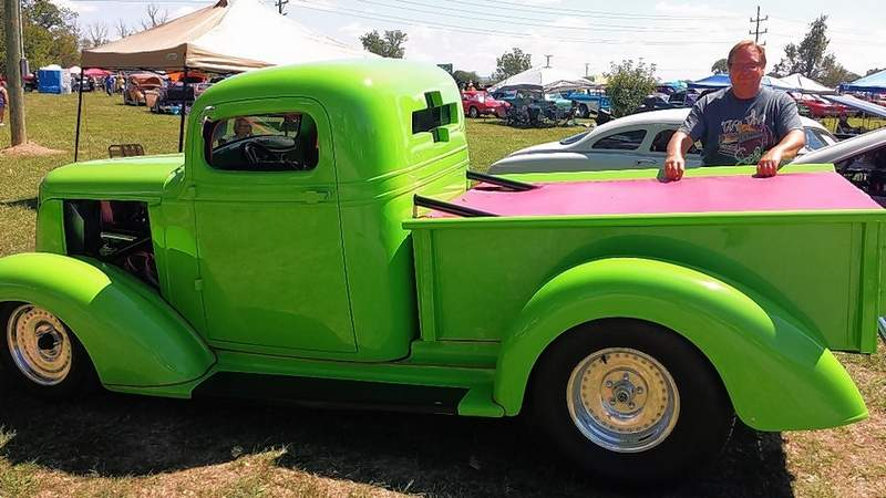 Gary Wangler of Sesser stands next to his 1937 Chevrolet pickup at the Memory Lane Car Show.