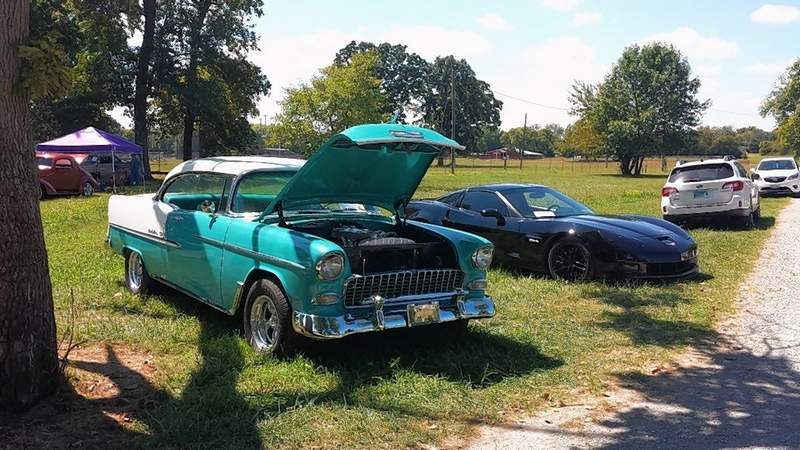Some of the 250 classic cars on display Monday at the Memory Lane Car Show.