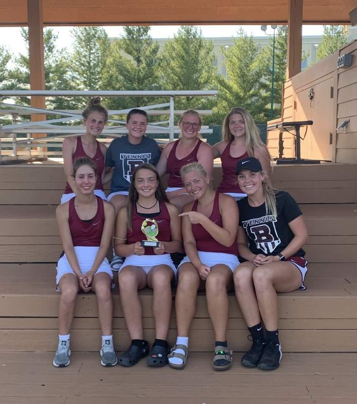 Benton High School girls tennis with the Sportsmanship Award. Top row (L to R) Chloe Hill, Taylor Moore, Kaitlyn Younger, Madison KreinerBottom row (L to R) Molly Goostree, Jersey Smith, Jordan Eickelman, Head Coach: Alyssa Williams