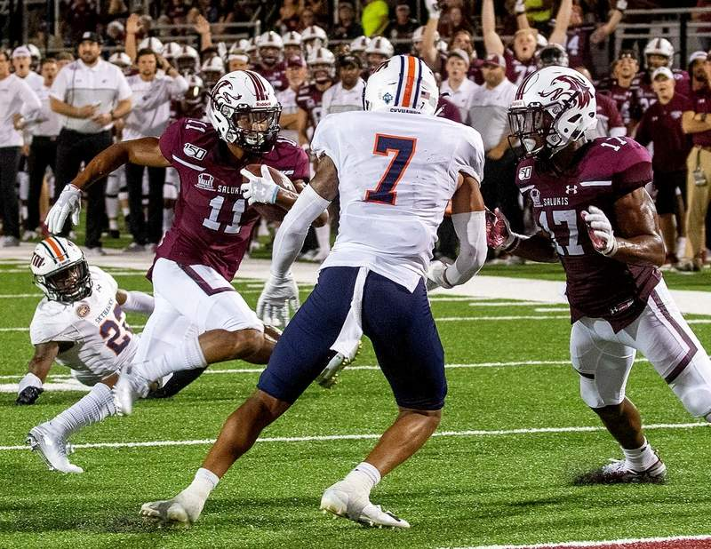 SIU's Javon Williams (11) ran for 138 yards and score two touchdowns as the Salukis rallied to beat UT Martin 28-14 Saturday night at Saluki Stadium.