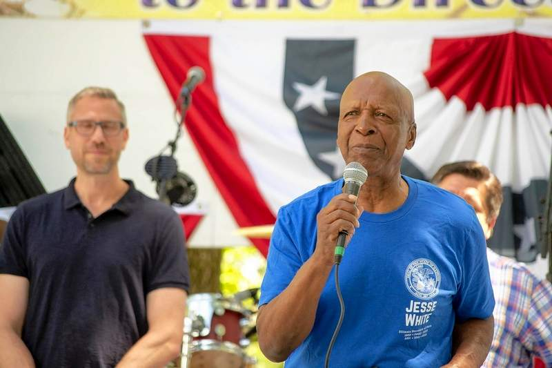 Secretary of State Jesse White speaks during a Governor's Day picnic Aug. 14 at the Illinois State Fair in Springfield. White's spokesman, Dave Drucker,  said Monday that the secretary of state denied a request from the U.S. Census Bureau's Data Acquisition Branch on Sept. 17 for citizenship status and other information from the agency's driver's license database.