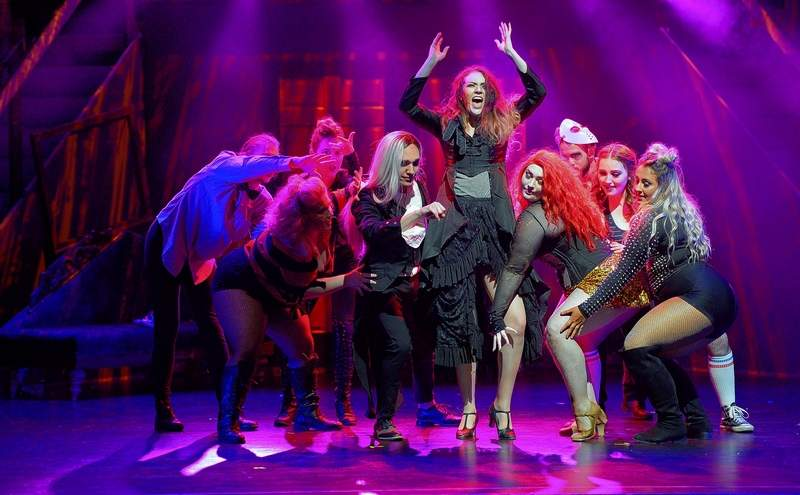 A cast member belts out one of the songs featured in this weekend's performances of THE ROCKY HORROR SHOW at Marion Cultural & Civic Center.