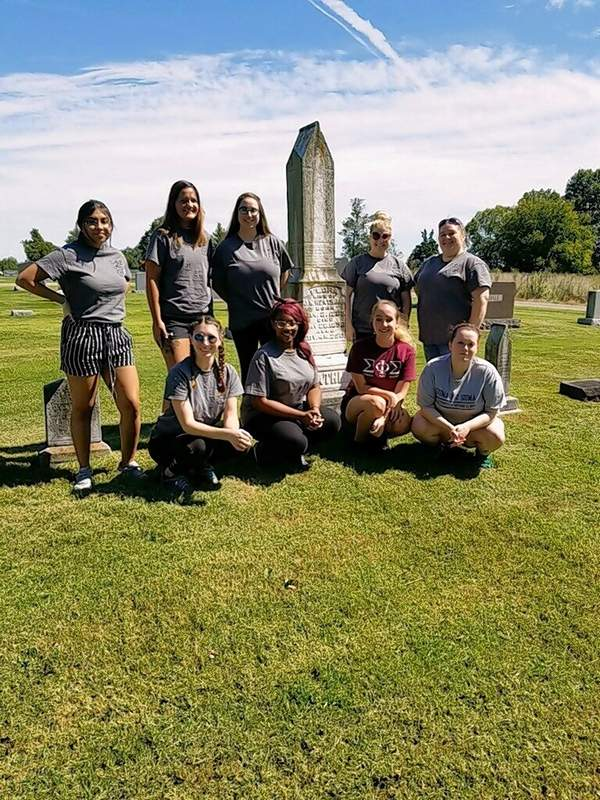 Members of Sigma Phi Sigma, SIU Carbondale's MSFS service fraternity, recently spent a day washing headstones and cleaning Durham Cemetery in Galatia. Participating students were, from left to right: Back row -- Biana Navarrete, McKenna George, Sydney Baumeister, Cayce Halbin and Rachel Smoot; Front row -- Haley Eppes, Salena Pierre, Erica Lenardt and Sierra Logue.