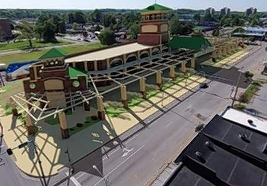 Shown is a rendering of the planned multimodal station to be built at the site of the current Amtrak station along the Strip in downtown Carbondale.