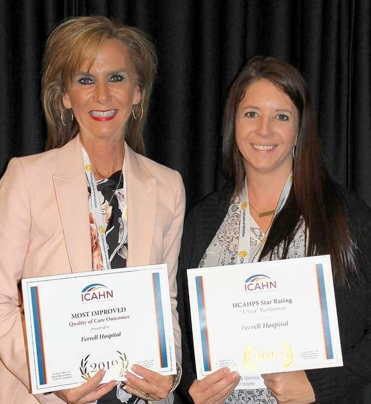 Alisa Coleman (left), CEO, Ferrell Hospital, and Allie Sisk, Marketing Specialist, accept MBQIP Quality of Excellence Awards for the most improvement over one year and also for being named a '4-Star' HCAHPS-rated hospital.