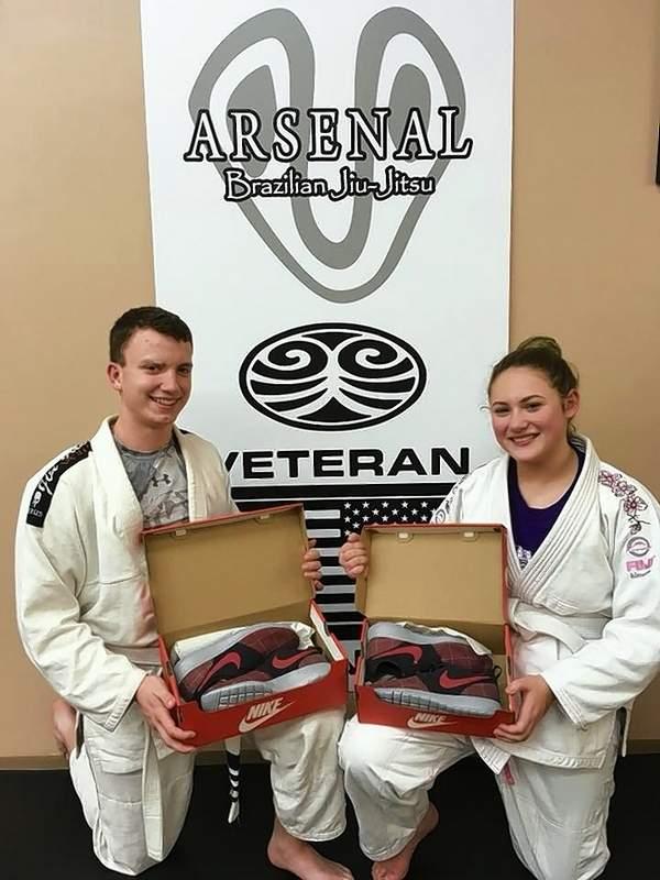 Courtesy of Alex Jeffries/St. Kicks Students Cole Brugger and Gini Jeffries, at Arsenal Brazilian Jiu Jitsu, in Benton