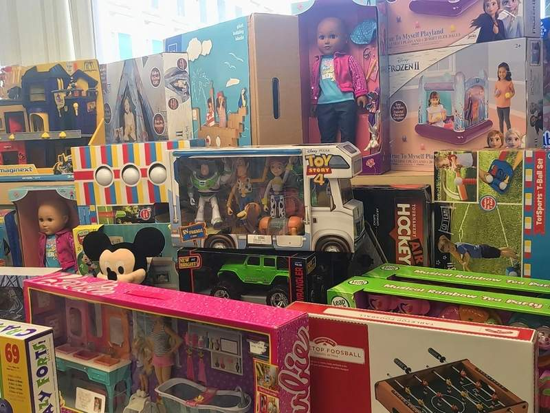 "Donations, like those from the Gander Outdoors drive, are put in a room at St. Louis Children's Hospital that the staff has named ""Snowflake Village."" Children can choose a toy or gift they would like to have."