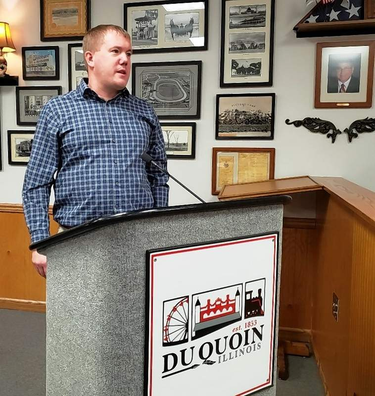 Erik Perks, general manager of the Prysmian Group (formerly General Cable) in Du Quoin, speaks to the Du Quoin city council last week.
