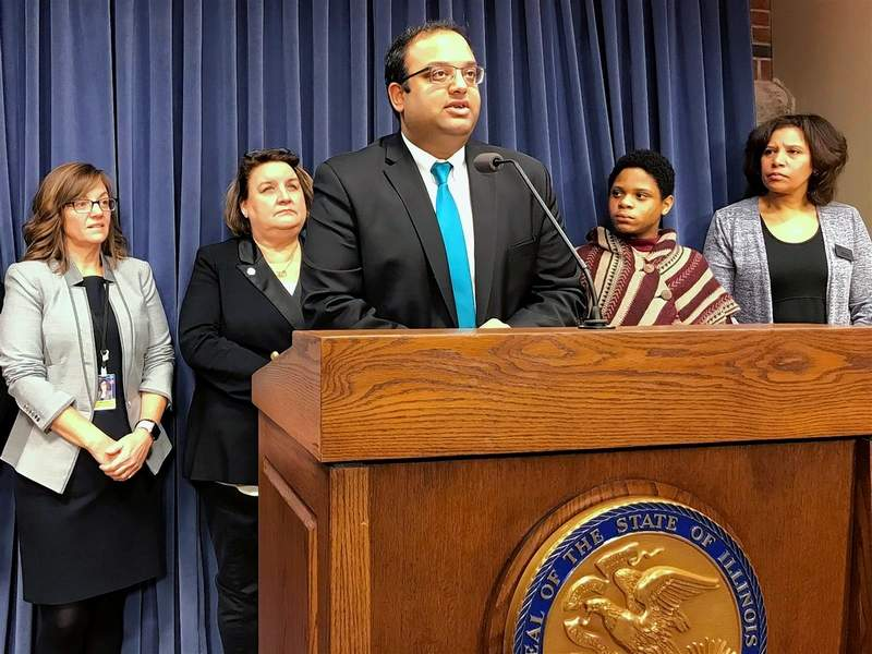 Sen. Ram Villivalam, a Chicago Democrat announces the Responsible Education for Adolescent and Children's Health Act, which would mandate sexual education for K-12 students. Behind him during a news conference Wednesday at the Capitol in Springfield are, from left, Rep. Katie Stuart, an Edwardsville Democrat, Rep. Kathleen Willis, an Addison Democrat, Marion High School senior Trey Graham and Illinois Coalition Against Sexual Assault Executive Director Carrie Ward.