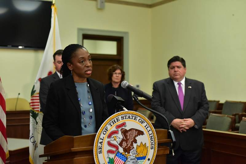 Illinois Department of Public Health Director Ngozi Ezike speaks Wednesday afternoon during the governor's daily press conference, this one held at the Jackson County Courthouse in Murphysboro. The area saw its first two confirmed coronavirus cases on the same day such cases across the state nearly doubled.