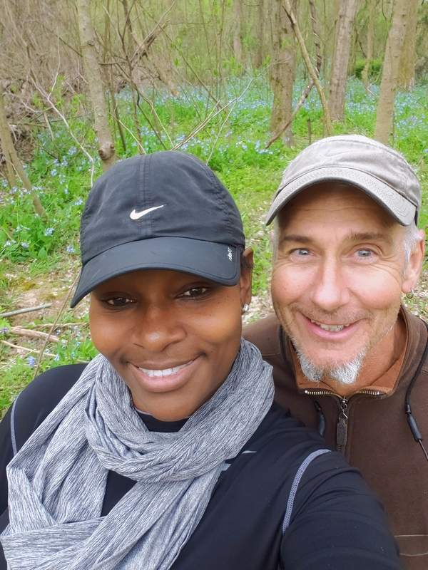 Mike Baltz poses for a selfie with his wife, Monique.