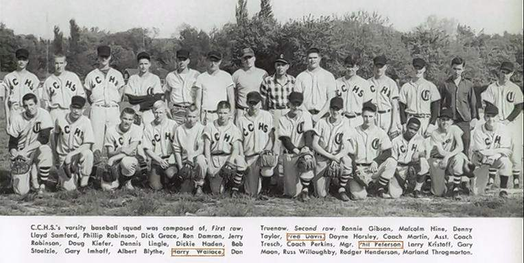 Shown is the 1958 CCHS baseball team. Albert Blythe is in the front row, third from right.