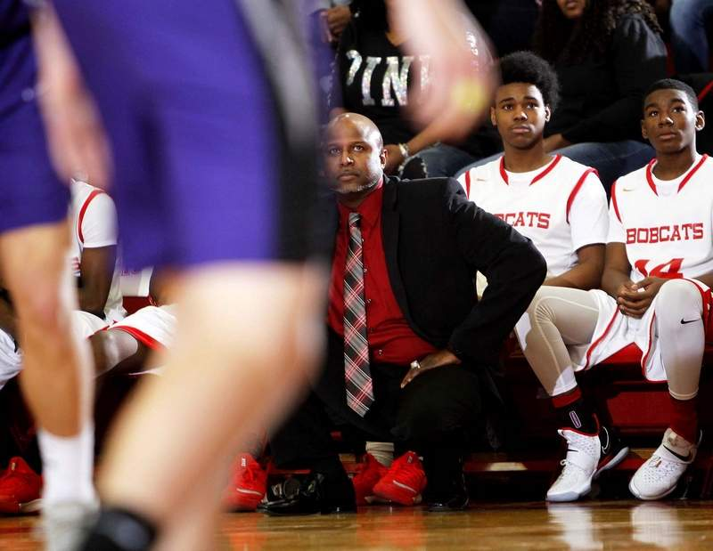 Erik Griffin, pictured coaching at Meridian High School, has used examples of racism faced in his life to teach others. Griffin graduated from Carrier Mills-Stonefort High School and went on to play his college basketball at SIU.