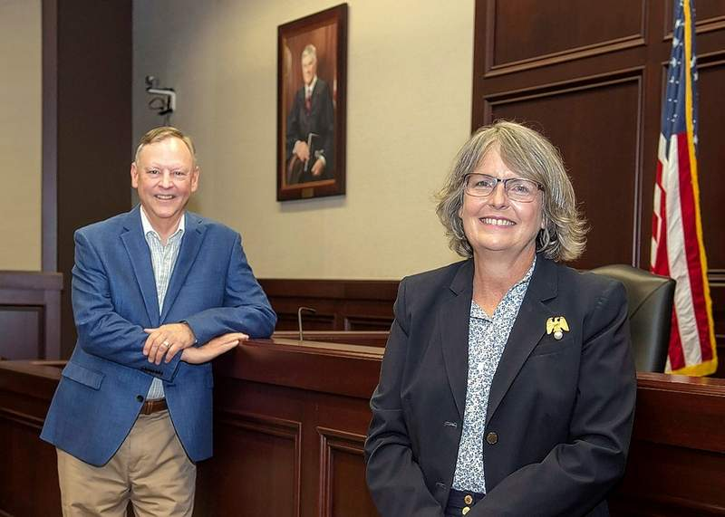 John Erbes, left, and Rebecca O'Neill, are part of the SIU School of Law Legal Clinic, which is receiving the Illinois State Bar Association's 2020 Excellence in Legal Education Award. The award honors a law school program that emphasizes real world skill for students.