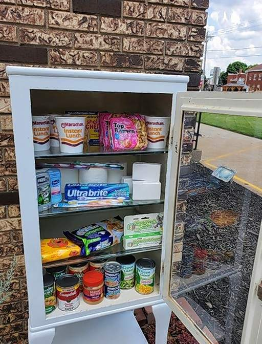 The Blessing Box outside the funeral home is open for giving and taking, no questions asked.