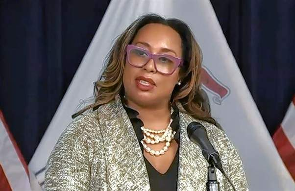 Toi Hutchinson, senior marijuana advisor to Gov. J.B. Pritzker, speaks at a news conference earlier.