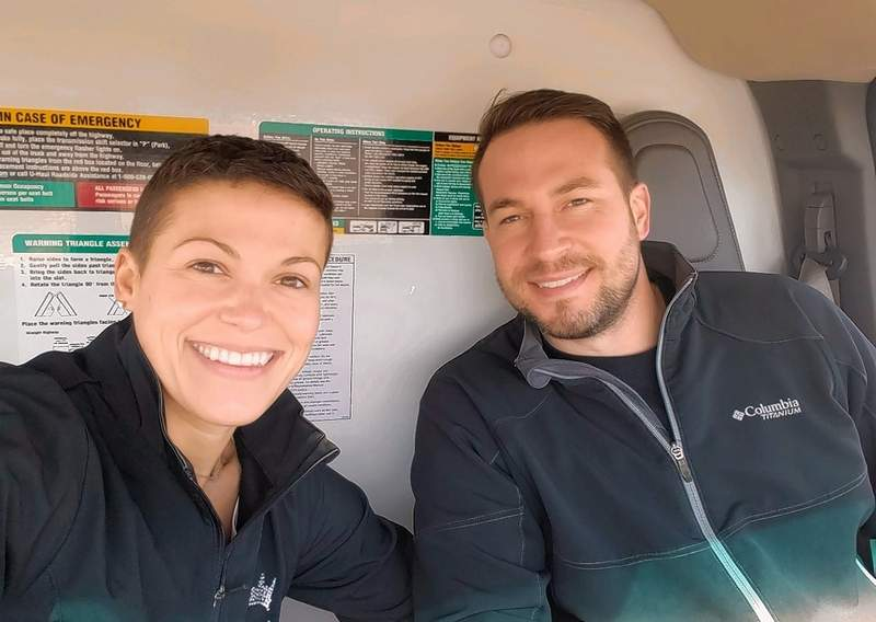 Rachel and Shawn Marks, in the cab of the U-Haul truck.