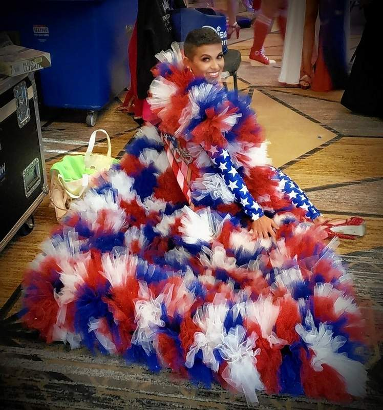 """Rachel's patriotic wear for the pageant was this incredible cape. """"I was so excited to make the finals,"""" she said. """"That was my goal."""""""
