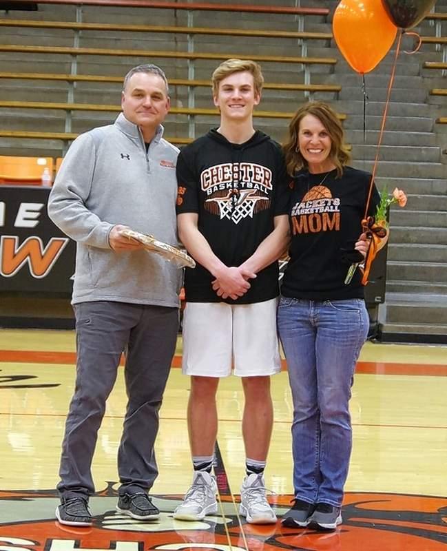Nate Heffernan, with parents Michael and Joanie Heffernan.