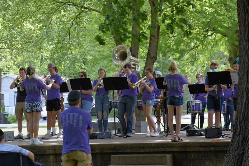 The Harrisburg High School Band performed during East Side's fun day in the park.