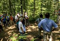 Mike Baltz talking with teachers about forest management at Trail of Tears State Forest.