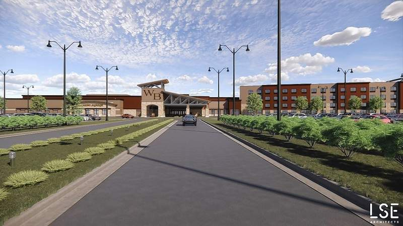 This updated rendering shows the Walker's Bluff Casino Resort project, now slated to begin construction on Oct. 1.