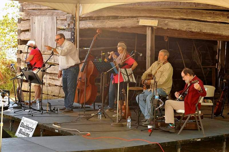Emcee Eric Gregg introduces the Blackberry Blossom Bluegrass Band at the 2019 festival. The group is one of four southern Illinois-based bands playing Saturday.